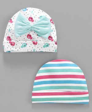 Babyhug 100% Cotton Printed & Striped Cap Pack of 2 - Green Multicolor