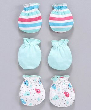 Babyhug Striped & Printed Mittens Set of 3 - Blue Green