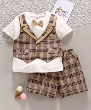 ToffyHouse Party Wear Half Sleeves Tee with Attached Waistcoat and Check Shorts - Brown White