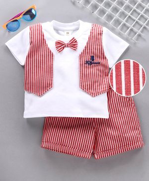 ToffyHouse Party Wear Half Sleeves Tee Shorts with Attached Waistcoat & Bow - Red White