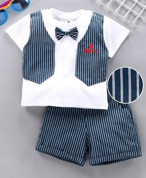 ToffyHouse Party Wear Half Sleeves Tee Shorts with Attached Waistcoat & Bow - Navy Blue White