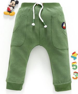 Babyhug Full Length Track Pant With Drawstring Ship Patch - Green