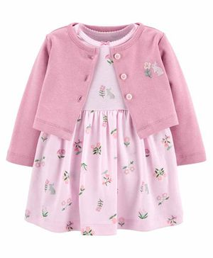 Carter's 2-Piece Bodysuit Dress & Cardigan Set - Pink