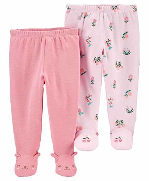 Carter's 2-Pack Cotton Footed Pants - Pink