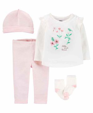 Carter's 4-Piece Floral Take-Me-Home Set - White Pink