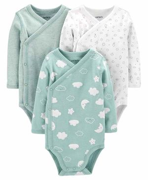 Carter's 3-Pack Clouds Side-Snap Bodysuits - Blue White