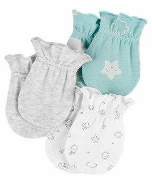 Carter's Mittens Star Print Pack of 3 - Sea Green White Grey