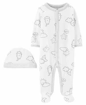 Carter's 2-Piece Cap & Snap-Up Sleep & Play Set - White
