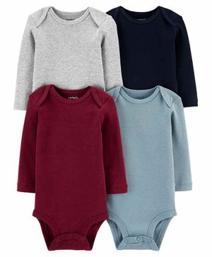 Carter's 4-Pack Long-Sleeve Original Bodysuits - Maroon Black Grey