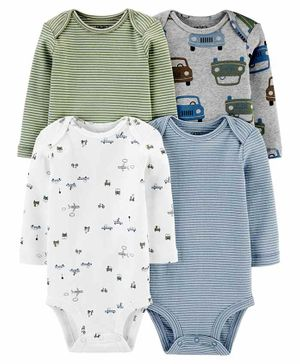 Carter's 4-Pack Long-Sleeve Bodysuits - Multicolor
