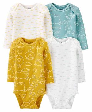 Carter's 4 Pack Sheep Original Bodysuits - Green Yellow White