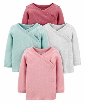 Carter's 4-Pack Side-Snap Tees - Pink, Blue, White & Light Pink