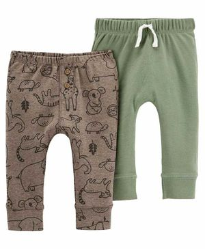 Carter's 2 Pack Pull On Pants - Green Brown