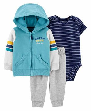 Carter's 3-Piece Striped Little Jacket Set - Blue