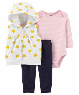 Carter's 3-Piece Little Vest Set - Pink Black