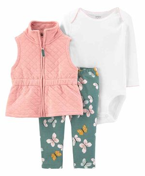 Carter's 3-Piece Little Vest Set - White  Pink Green