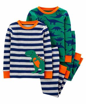 Carter's 4-Piece 100% Snug Fit Cotton PJs - Green Grey
