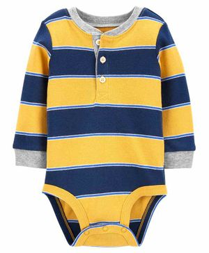 Carter's Striped Henley Bodysuit - Yellow Blue