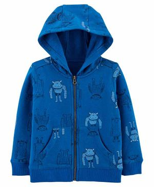 Carter's Monster Zip-Up Fleece-Lined Hoodie - Blue