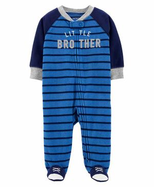 Carter's Little Brother Zip-Up Fleece Sleep & Play - Blue