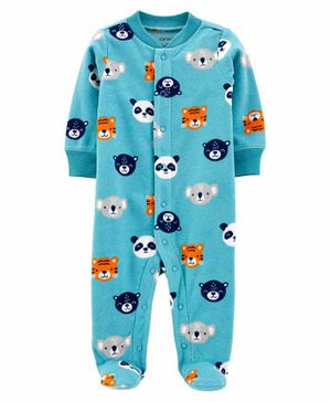 Carter's Animals Snap-Up Fleece Sleep & Play - Blue