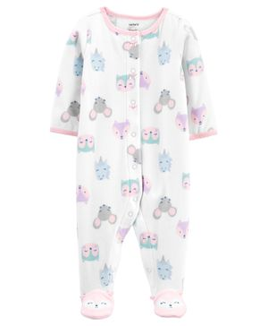 Carter's Animals Snap-Up Fleece Sleep & Play - White