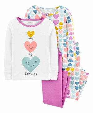 Carter's 4-Piece 100% Snug Fit Cotton PJs - Pink White