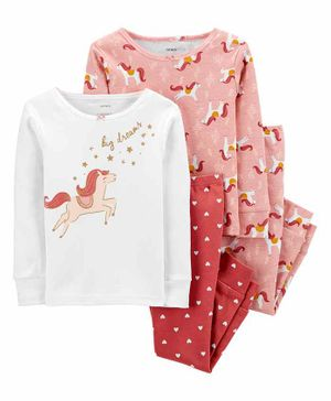 Carter's 4-Piece 100% Snug Fit Cotton PJs - White Pink