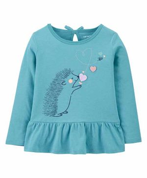 Carter's Hedgehog Peplum Jersey Tee - Blue
