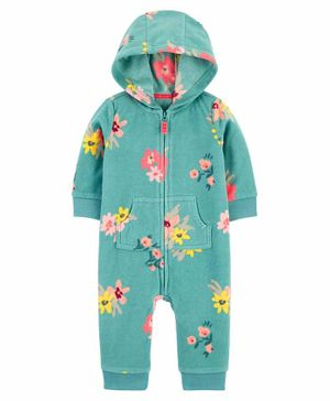 Carter's Floral Fleece Jumpsuit - Green