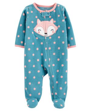 Carter's Fox Zip-Up Fleece Sleep & Play - Turquoise Blue