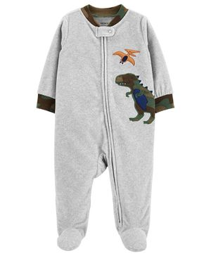 Carter's Dinosaur Zip-Up Fleece Sleep & Play - Grey
