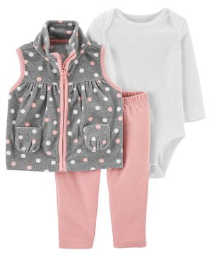 Carter's 3-Piece Polka Dot Little Vest Set - Grey White Pink