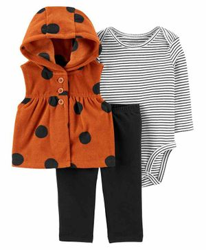 Carter's 3-Piece Polka Dot Little Vest Set - Brown White Black
