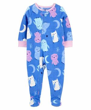 Carter's  Piece Owl Fleece Footie PJs - Blue