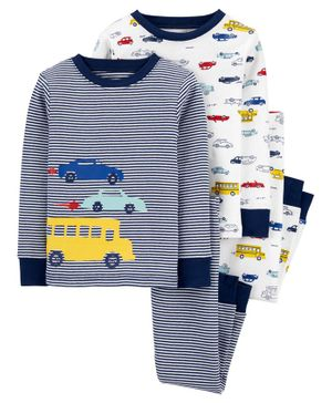 Carter's 4-Piece 100% Snug Fit Cotton PJs - Blue White