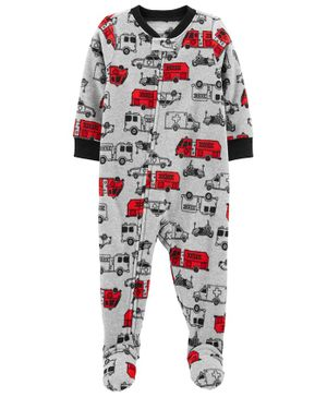Carter's 1-Piece Firetruck Fleece Footie PJs - Grey