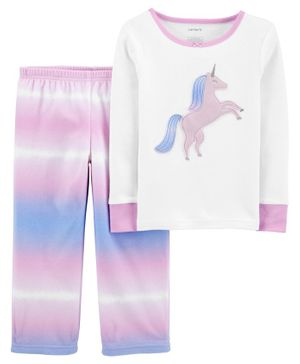 Carter's 2-Piece Unicorn 100% Snug Fit Cotton & Fleece Night Suit - Pink
