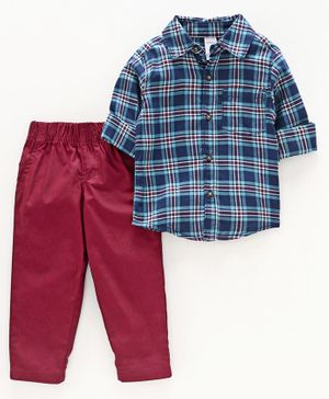Carter's 2-Piece Plaid Button-Front Shirt & Pant Set - Blue Maroon