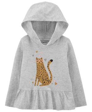 Carter's Striped Zip-Up Fleece Romper - Grey