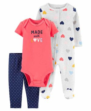 Carter's 3-Piece Sleep & Play & Bodysuit Set - Coral Grey Blue