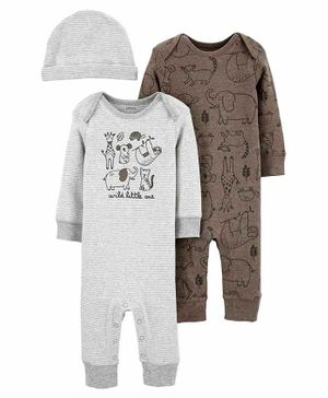 Carter's 3-Piece Romper & Cap Set - Grey