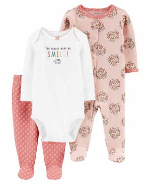 Carter's 3-Piece Smile Bodysuit & Footed Pant Set - Pink White