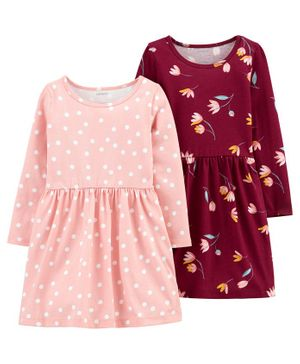 Carter's 2-Pack Jersey Dresses - Pink Maroon