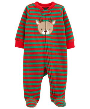 Carter's Christmas Reindeer Zip-Up Fleece  Sleepsuit - Red