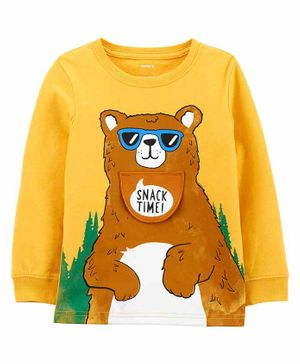 Carter's Bear Peek-A-Boo Snow Yarn Tee - Yellow