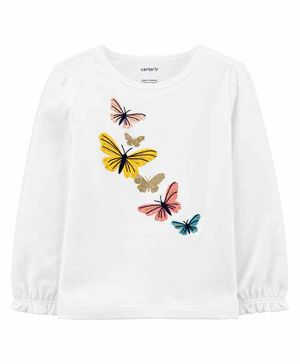 Carter's Butterfly Jersey Tee - White