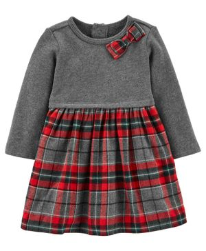 Carter's Holiday Plaid Bow Dress - Grey