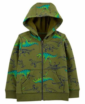 Carter's Dinosaur Zip-Up Fleece-Lined Hoodie - Green