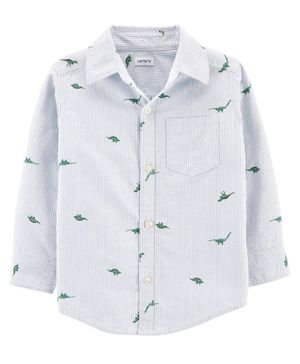 Carter's  Dinosaur Button-Front Shirt - White Blue